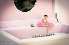 Taking a Break  2012 Lana Von Haught (LanaVonHaught) Tags: pink ballet white girl composite photoshop mirror ballerina felt tights pearls flats bun slippers tutu leotard jewelrybox