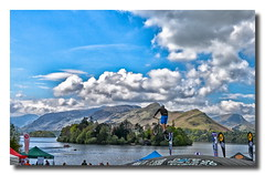 Getting some air (dillspics) Tags: mountains bike clouds jump derwentwater keswick