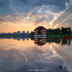 Fiery Fluidity (moon Symphony) Tags: lake sunrise dawn singapore 24mm chinesegarden jurong d600 vertoramic