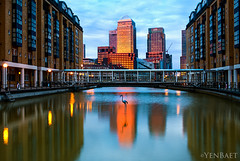 London - Light Reflected on Canary Wharf (Yen Baet) Tags: city uk greatbritain travel sunset england london architecture reflections twilight europe european cityscape waterfront view unitedkingdom britain dusk scenic hilton eu landmark icon vista docklands british iconic citibank thamesriver gondolas waterscape britons onecanadaplace yenbaet