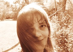 windyhair (Laura Sorrells) Tags: me smile sepia windy 2013 talkingrock