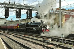 LMS 'Black 5' No. 44932 Leaving Carlisle On 22nd May 2013 (allan5819 (Allan McKever)) Tags: uk travel england heritage station train citadel engine rail railway loco steam depart locomotive passenger railtour carlisle excursion charter lms 460 5mt black5 44932 ransport