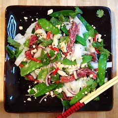 Vietnamese style onglet, snow pea and rice noodle salad (aaroscape) Tags: salad vietnamese herbs beef snowpeas ricenoodles onglet uploaded:by=flickrmobile flickriosapp:filter=nofilter