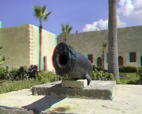 Eygpt 3D #02-Fort Kite Bay Cannon (Anaglyph)