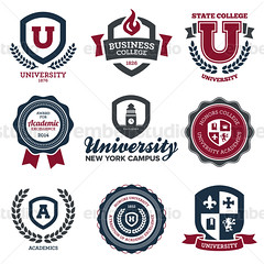 University and college crests (Ember Studio) Tags: school building tower classic clock college geometric sign set illustration emblem book design education university graphic symbol decorative quality web tag traditional text border banner style vine crest stamp business seal badge round shield insignia academy vector premium academic honors designelement costofarms