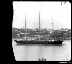 Three-masted ship at anchor, Sydney Harbour