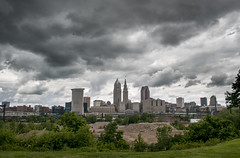 Stormy Skyline (.:Chelsea Dagger:.) Tags: ohio storm rain weather fog skyline clouds cityscape cloudy cleveland thunderstorm mostlycloudy