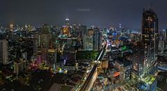 Night Cityscape Bangkok (Natthawat Jamnapa) Tags: road city light sky building tower beautiful architecture modern night canon landscape thailand town construction asia downtown cityscape view bangkok background landmark thai 6d