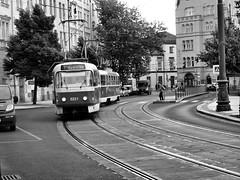 Prague Trollie Bus (saxonfenken) Tags: street city blackandwhite cityscape prague transport tram thumbsup gamewinner 7039 unanimous challengeyouwinner czechrepublique favescontestwinner friendlychallenges thechallengefactory pregamewinner 7039trans