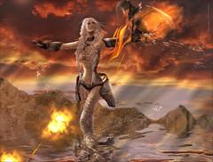 Yeriak~G.A.M.E. (Skip Staheli *11 YEARS SL PHOTOGRAPHY*) Tags: game reflection fire flames sl digitalpainting fantasy secondlife dreamy virtualworld skipstaheli yeriakcouturier