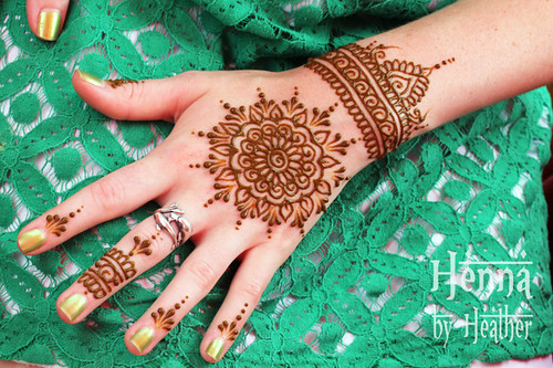 Henna Mandala And Cuff Indian Mehndi Design Green Background A