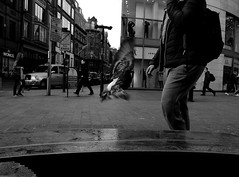 Low Flying ! (Raymond Paul - SP) Tags: people blackandwhite bw mono flying candid pigeons perspective streetphotography fujifilm citystreets x20 urbanstreetphotography streetshot urbanlife merseyside urbanstreets menandwoman liverpoollife streetphotographyliverpool fujix20 thisisliverpool