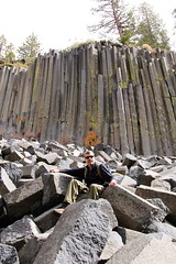 David in Devils Postpile (daveynin) Tags: california lava nps lichen basalt columnarbasalt