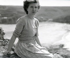 Pensive Beauty by the coast (vintage ladies) Tags: sea portrait people blackandwhite woman lady vintage dress lovely cardigan 40s 40sstyle 40swoman 40slady