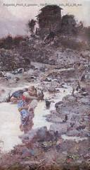 Eugenio Prati Il guado- 1894 olio su tela 50 x 29 cm