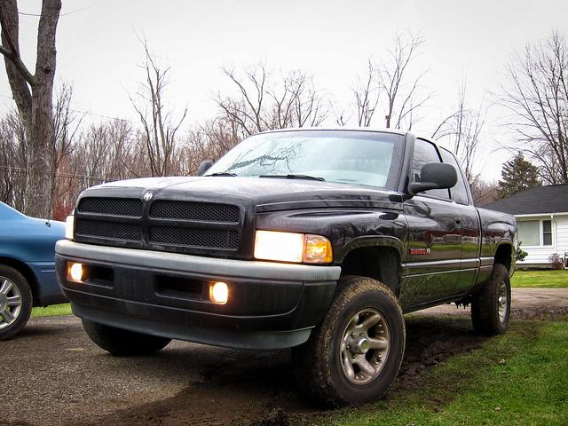 black truck outside outdoors 4x4 pickup dodge ram 1500 halfton