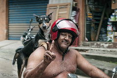"A Dog and His Man (Karnevil) Tags: shirtless brazil dog man southamerica rio buildings de nikon peace hillside peacesign portuguese favela americas rocinha slums shantytown gávea morros rockformation peacesymbol d300 littlefarm sãoconrado ""rio janeiro"" southzone"