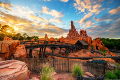 Big Thunder Sunset (TheTimeTheSpace) Tags: sunset nikon disney disneyworld waltdisneyworld magickingdom thundermountain frontierland d800 bigthundermountainrailroad