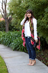 Scarf of Many Colors (triplyksis) Tags: scarf gap jeans nails clutch earrings lipstick blazer tee booties sephora 31philliplim loefflerrandall incoco theodoracallum poshmark