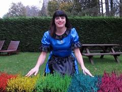 Smile (Paula Satijn) Tags: blue black sexy girl garden uniform skirt tgirl apron satin maid gurl frenchmaid