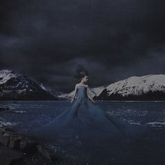 born of wind from snowy mountains (brookeshaden) Tags: snow art ice alaska fairytale frozen wind birth fading conceptual portage stormysky mothernature fineartphotography snowymountains flowingdress brookeshaden