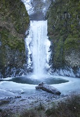 Base of Multnomah Falls (Getting Better Shots) Tags: trees winter snow cold ice nature waterfalls