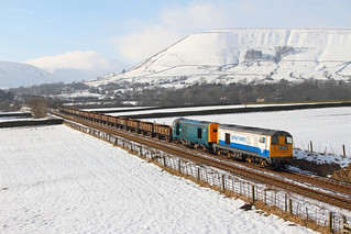 20189+20205 on the 6Z21 1325 Peak Forest to Chaddesden Sidings at Edale bridge 52 on the 07-02-2015