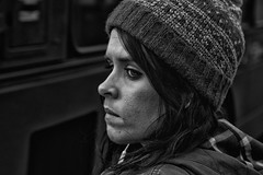 IMG_9767-Edit (roger_thelwell) Tags: life street city uk winter portrait england people urban bw white black streets cold london lamp monochrome westminster beauty hat rain leather mobile umbrella hair bag walking real photography mono chat shiny phone traffic post natural photos britain circus cigarette candid cab ta