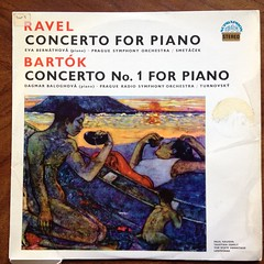 Ravel - Piano Concerto G Major - Eva Bernathova Piano, Prague SO, Vaclav Smetacek & Bartok - Piano Concerto No.1 - Dagmar Baloghova Piano, Prague RSO, Martin Turnovsky, Supraphon SUA ST 50602, 1964 (Piano Piano!) Tags: musician artwork album vinyl collection record sleeve hoes 1964 12inch vynil hulle pragueso martinturnovsky praguerso gramophonerecordplattediscvinyllplangspeelplaatklassiekclassicalclassique grammofoonlangspielplatte ravelpianoconcertogmajorevabernathovapiano vaclavsmetacekbartokpianoconcertono1dagmarbaloghovapiano supraphonsuast50602 recordalbumdisclpvinylvynil12inch coverarthoeshulle12inch discdisquerecordalbumlplangspeelplaatgramophoneschallplattevynilvinyl