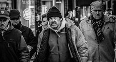 Walking Workers (pootlepod) Tags: street blackandwhite male men monochrome walking photography workers pavement group hats males determination stphotographia