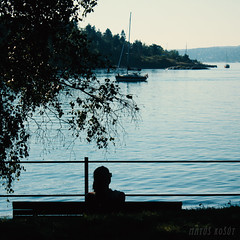 Oslo, August 23rd (Mat Kot) Tags: travel water girl oslo norway bench boats evening view outdoor bank fjord quietplace