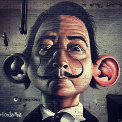 Streetart Dali (gimmeocean) Tags: nyc newyorkcity streetart ny graffiti mural manhattan salvadordali eastside murrayhill streetartnyc sipros iphoneography iphonenography snapseed siprosnaberezny