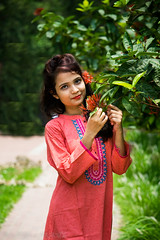 || The Flower Queen || (NahidHasan95) Tags: red portrait sun sunlight white black flower color tree nature girl fashion wall leaf shoot dress outdoor passion meroon