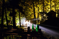 Cottage Party Haze (Matt Molloy) Tags: trees light party ontario canada building cars night table fun photography woods bottles smoke cottage beams lovelife mattmolloy