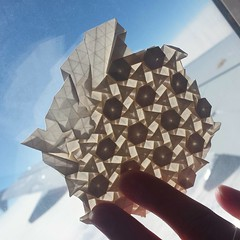 Folding in the sky... (Dasssa) Tags: sky paper origami backlit tessellation flagstone justrhombii