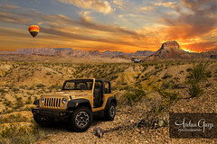 Big Bend Jeep Composite (Andrea Garza ~) Tags: sunset composite photoshop texas jeep offroad westtexas dust bigbendnationalpark goldenhour bigbend