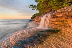 Elliot Falls Sunset - Miners Beach (2016-06-16 1366) (bechtelsf) Tags: light sunset sky texture waterfall nikon michigan shore upperpeninsula picturedrocksnationallakeshore d810