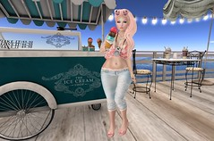 Post #1728 ( =^^=) Tags: sashakittehwildrose pinkatude tropical summer icecream gacha peach pink wharf beach capris top sunglasses blog fashion applier mesh hud makeup piercing sandals casual coconut camera teal ocean waves pearl jewelery diamond rose gold black