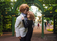 Magnus and Tomoko (astramaore) Tags: summer people green love face fashion toys photography eyes couple doll raw dress wind nu outdoor pair north lips full relationship blond agency lukas blonde 16 cheekbones gown viola lovestory affair royalty maverick relations appeal integrity momoko astramaore