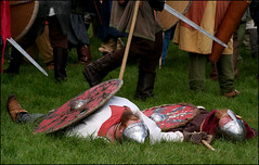 Battlefield Casualties (Canis Major) Tags: shields reconstruction casualties pretending notreallydead sherston 000thanniversary battleofsherston