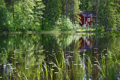 It's summer in Finland (STTH64) Tags: trees red summer sunlight lake green water sunshine forest finland season warm outdoor cottage serene reflaction tamron28300 pentaxk1