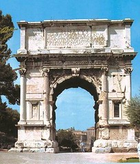 Ancient Rome. Marble Arch of Titus, constructed in  81 AD (soon after the completion of the nearby Colosseum) by the Emperor Domitian, shortly after the death of his older brother Titus to commemorate Titus' victories. (mike catalonian) Tags: rome viasacra 1stcenturyad domitian emperor flaviandynasty titus arch ancientrome romanforum 1stcentury 81ad
