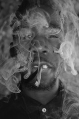 'Smokey' i. (miranda.valenti12) Tags: portrait blackandwhite abandoned face up weed jay close expression smoke wrap smoking smokey blunt facial peso hundoo