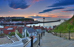 The Whitby steps sunset panorama. (paul downing) Tags: sunset panorama photoshop nikon harbour northsea whitby 12 filters stmaryschurch hitech northyorkshire gnd photomatix riveresk 199steps pd1001 pauldowning d7200 pauldowningphotography