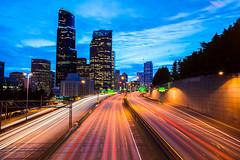 Blue Hour Rush (Matthew Charchenko Photography) Tags: seattle city blue light urban cars washington long exposure traffic pacific northwest trails rush hour