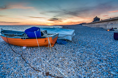 ''SunSet(2)'' (marcbryans) Tags: portlanddorset seascape sunsets skyline sea beach boat pebbles flash nikond7100 tokina1116mm wideangle waves water outdoors orange