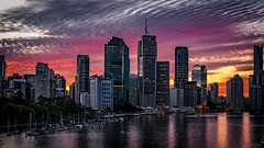 Coloured Skies (g0rsty) Tags: city sunset sky water weather clouds boats brisbane brisbaneriver waterreflections sunsetsandsunrisesgold cloudsstormssunsetssunrises