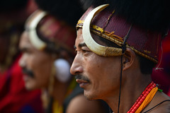 Naga Men at the Hornbill Festival, Nagaland (Josh Niederauer) Tags: travel red portrait people india man men tourism face hat festival nikon zoom head traditional north culture east if warrior hunter 28 tradition nikkor ethnic 70200 hornbill vr cultural lense naga headdress d800 nagaland attire 2015