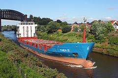 'Thea II' Latchford 20th June 2016 (John Eyres) Tags: theaii latchford warrington manchester ship canal mersey boat viaduct manchestershipcanal