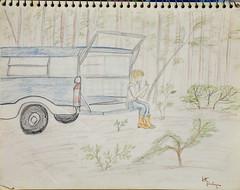 My Brother, Whittling (Riversong Artist) Tags: trip camping camp pencil paper georgia sketch moms 1970s bainbridge bkhagar